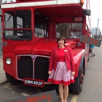 The Vintage Bus Dress-White Tree Fabrics